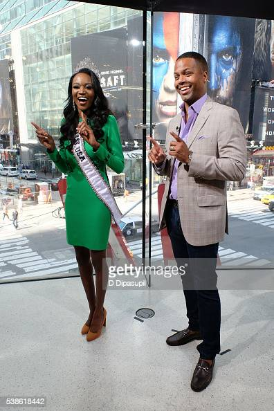 Calloway interviews Miss USA 2016 Deshauna Barber during her visit to 'Extra' at their New York studios at HM in Times Square on June 7 2016 in New...