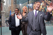 AJ Calloway interviews NeNe Leakes and husband Gregg Leakes during their visit to 'Extra' at their New York studios at HM in Times Square on April 27...