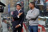 Calloway interviews Nick Cannon during his visit to 'Extra' at their New York studios at HM in Times Square on March 28 2016 in New York City
