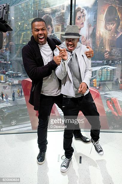 Calloway interviews Nick Cannon during his visit to 'Extra' at their New York studios at HM in Times Square on November 2 2016 in New York City