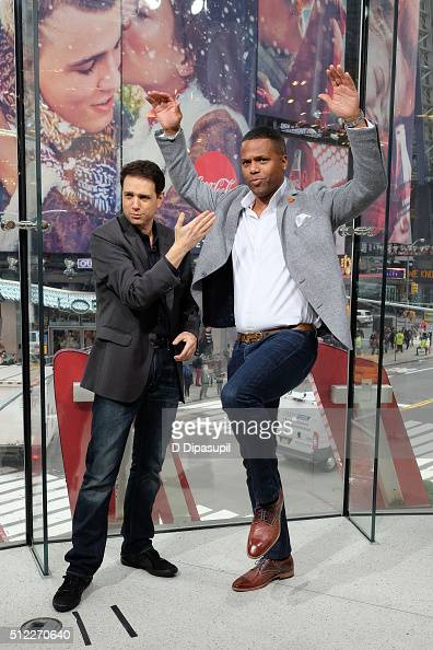 Calloway interviews Ralph Macchio during his visit to 'Extra' at their New York studios at HM in Times Square on February 25 2016 in New York City