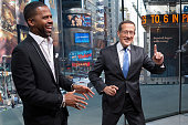 Calloway interviews Richard Quest during his visit to 'Extra' at their New York studios at HM in Times Square on May 13 2015 in New York City
