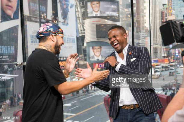 Calloway interviews singer French Montana during his visit to 'Extra' at their New York studios at HM in Times Square on July 20 2017 in New York City