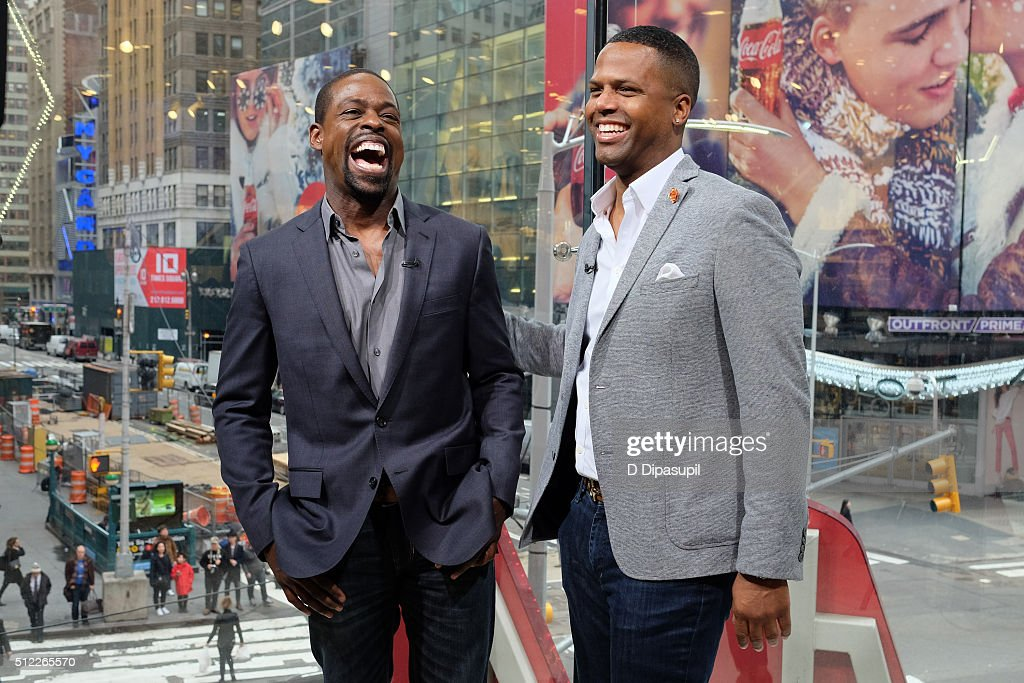 Calloway interviews Sterling K Brown during his visit to 'Extra' at their New York studios at HM in Times Square on February 25 2016 in New York City