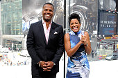 Calloway interviews Tamron Hall during her visit to 'Extra' at their New York studios at HM in Times Square on June 30 2015 in New York City