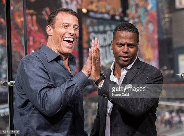 Calloway interviews Tony Robbins during his visit to 'Extra' at HM Times Square on July 13 2016 in New York City