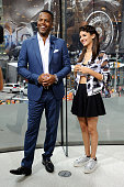 Calloway interviews Victoria Justice during her visit to 'Extra' at their New York studios at HM in Times Square on July 9 2015 in New York City