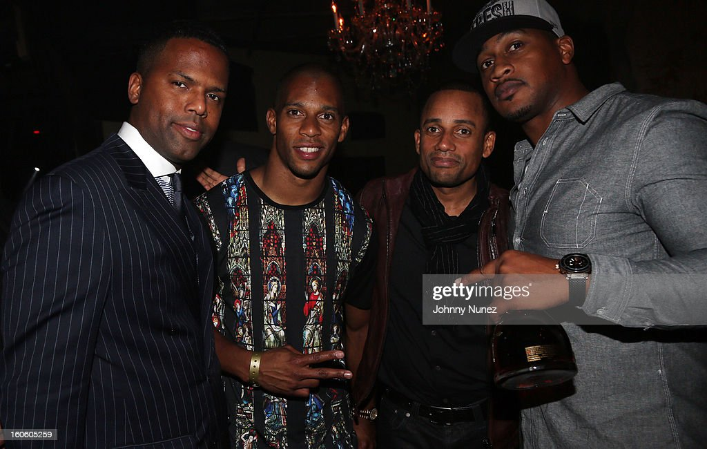 AJ Calloway, <a gi-track='captionPersonalityLinkClicked' href=/galleries/search?phrase=Victor+Cruz+-+American+Football+Player&family=editorial&specificpeople=8736842 ng-click='$event.stopPropagation()'>Victor Cruz</a>, <a gi-track='captionPersonalityLinkClicked' href=/galleries/search?phrase=Hill+Harper&family=editorial&specificpeople=212847 ng-click='$event.stopPropagation()'>Hill Harper</a>, and Richard McLeod attend the Jay-Z & D'Usse Super Bowl Party at The Republic on February 2, 2013, in New Orleans, Louisiana.