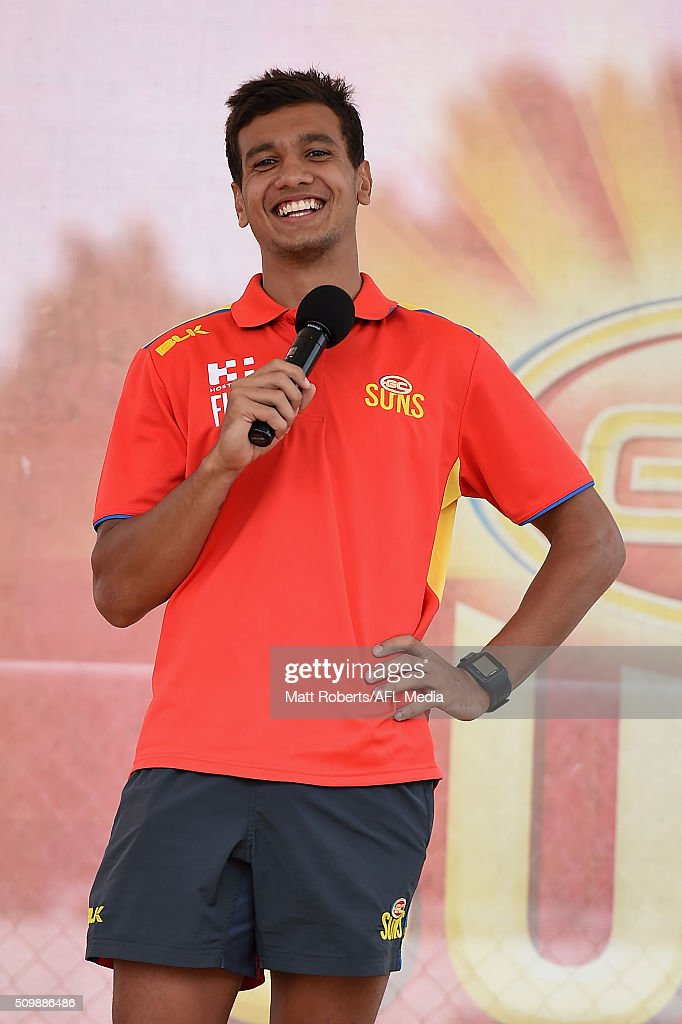 Callum Ah Chee speaks on stage during the Gold Coast Suns AFL open day at Metricon Stadium on February 13, 2016 on the Gold Coast, Australia.
