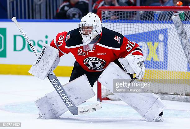 Callum Booth of the Quebec Remparts skates against the Baie Comeau Drakkar during their QMJHL hockey game at the Centre Videotron on October 14 2016...