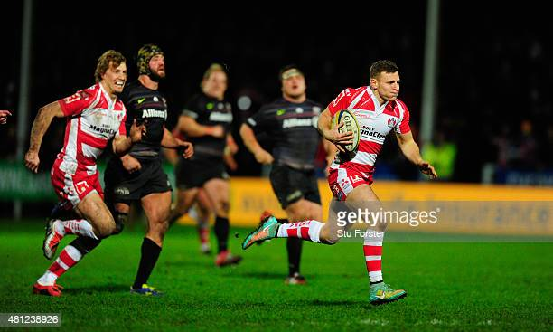Callum Braley of Gloucester goes through for the second Gloucester try during the Aviva Premiership match between Gloucester Rugby and Saracens at...