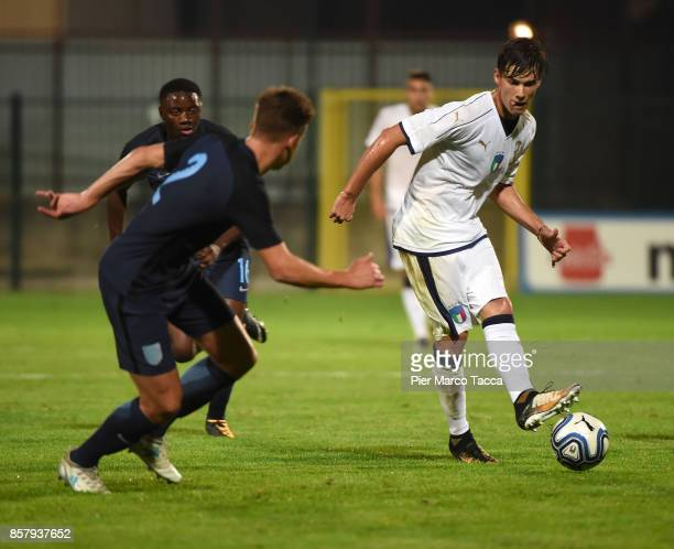 Callum Brittain of England U20 competes for the ball with Pietro Beruatto of Italy U21 during the 8 Nations Tournament match between Italy U20 and...
