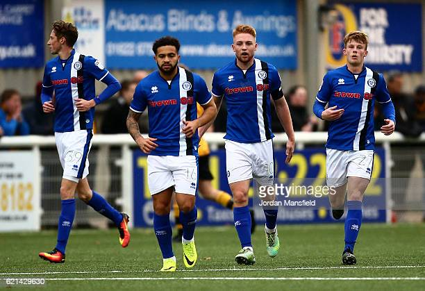 Callum Camps of Rochdale celebrates with his teammates after scoring a lastminute equalising goal during the Emirates FA Cup First Round match...