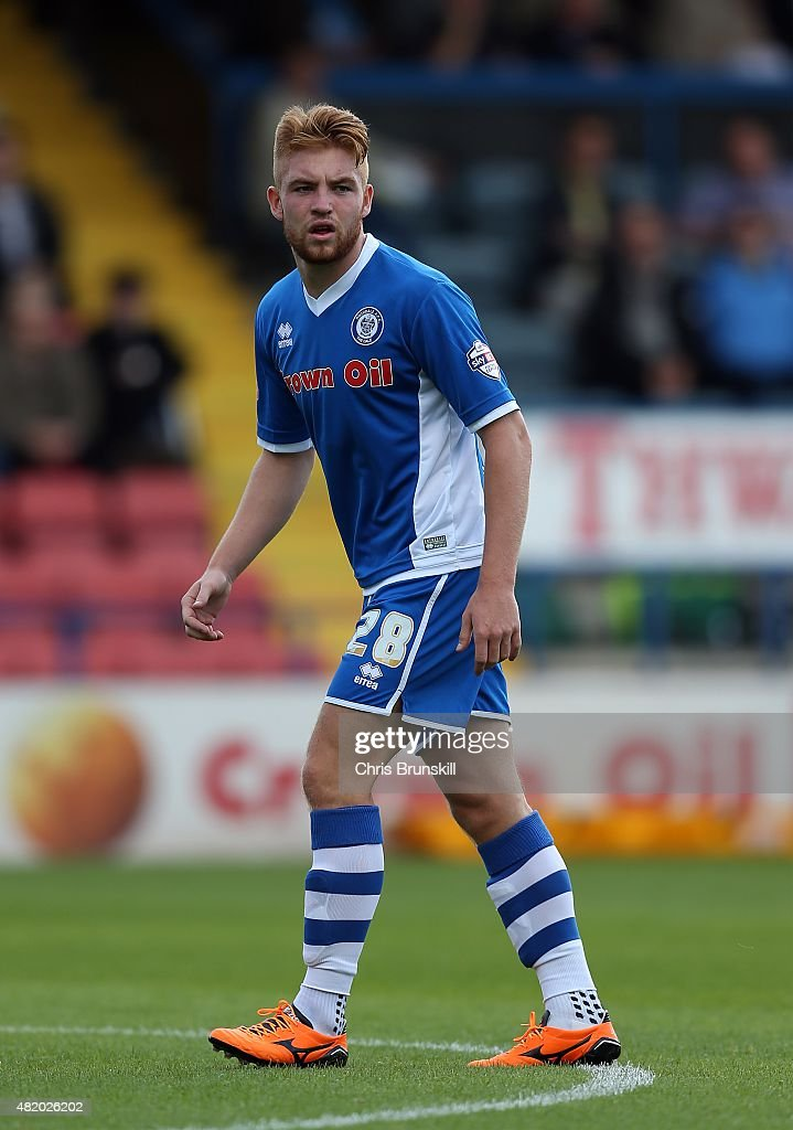 Callum Camps of Rochdale in action during the pre season friendly match between Rochdale and Huddersfield Town at Spotland on July 18 2015 in...