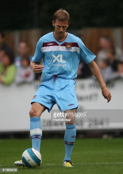 Callum Davenport of West Ham warms up ahead of the Pre Season Friendly match between Hamtpon Richmond Borough FC and West Ham United at Beveree...