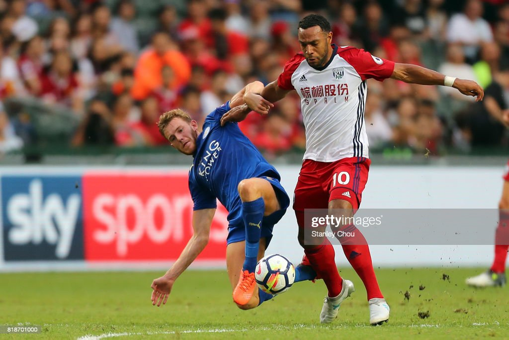 Callum Elder of Leiceister City tackles Matt Phillips of West Bromwich Albion during the Premier League Asia Trophy match between Leicester City and West Bromwich Albion at Hong Kong Stadium on July 19, 2017 in Hong Kong, Hong Kong.