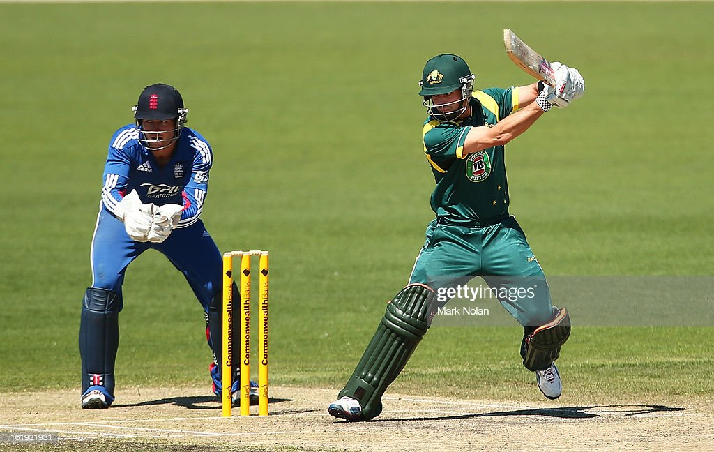 Callum Ferguson of Australia A bats during the international tour match between Australia 'A' and England at Blundstone Arena on February 18, 2013 in Hobart, Australia.