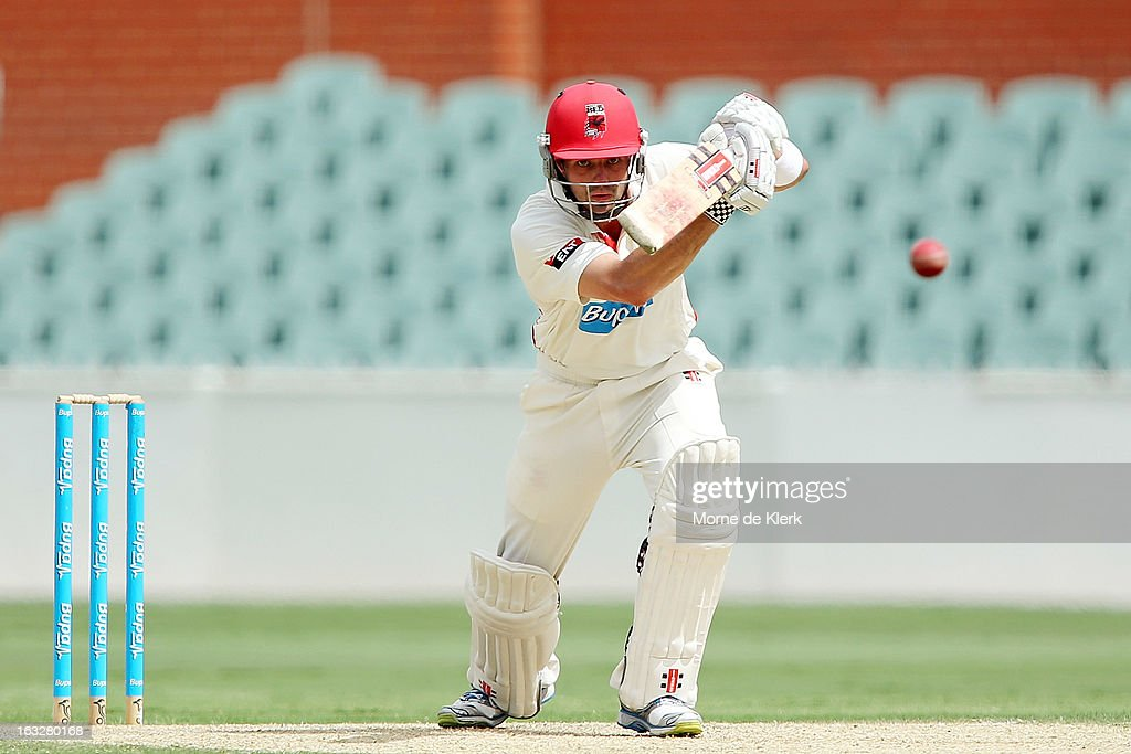 Callum Ferguson of the Redbacks bats during day one of the Sheffield Shield match between the South Australian redbacks and the Western Australia Warriors at Adelaide Oval on March 7, 2013 in Adelaide, Australia.