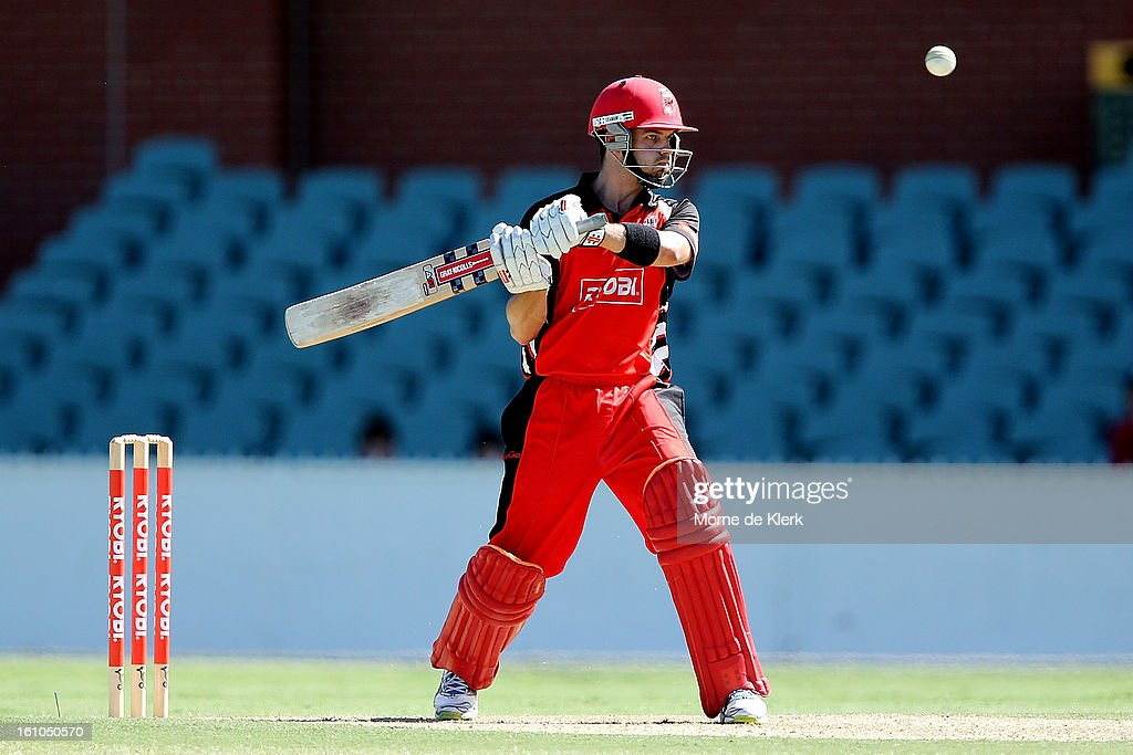 Callum Ferguson of the Redbacks bats during the Ryobi One Cup Day match between the South Australian Redbacks and the Victorian Bushrangers at Adelaide Oval on February 9, 2013 in Adelaide, Australia.
