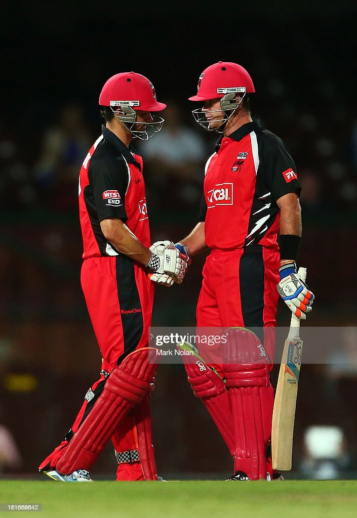<a gi-track='captionPersonalityLinkClicked' href=/galleries/search?phrase=Callum+Ferguson&family=editorial&specificpeople=791741 ng-click='$event.stopPropagation()'>Callum Ferguson</a> (L) of the Redbacks is congratulated by <a gi-track='captionPersonalityLinkClicked' href=/galleries/search?phrase=Daniel+Christian&family=editorial&specificpeople=2126776 ng-click='$event.stopPropagation()'>Daniel Christian</a> after getting his half century during the Ryobi Cup One Day match between the New South Wales Blues and the South Australian Redbacks at Sydney Cricket Ground on February 14, 2013 in Sydney, Australia.