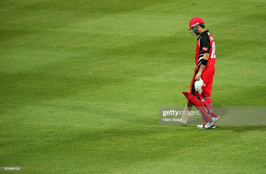 <a gi-track='captionPersonalityLinkClicked' href=/galleries/search?phrase=Callum+Ferguson&family=editorial&specificpeople=791741 ng-click='$event.stopPropagation()'>Callum Ferguson</a> of the Redbacks looks dejected after being dismissed during the Ryobi Cup One Day match between the New South Wales Blues and the South Australian Redbacks at Sydney Cricket Ground on February 14, 2013 in Sydney, Australia.
