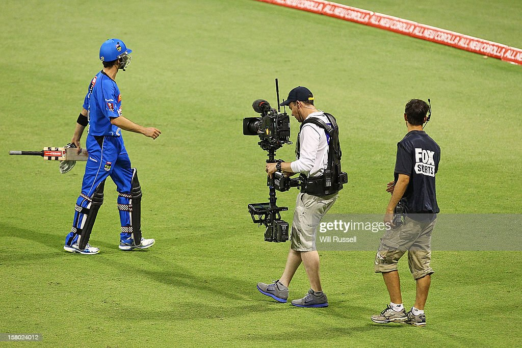Callum Ferguson of the Strikers leaves the field after being caught out by Adam Voges during the Big Bash League match between the Perth Scorchers and Adelaide Strikers at WACA on December 9, 2012 in Perth, Australia.