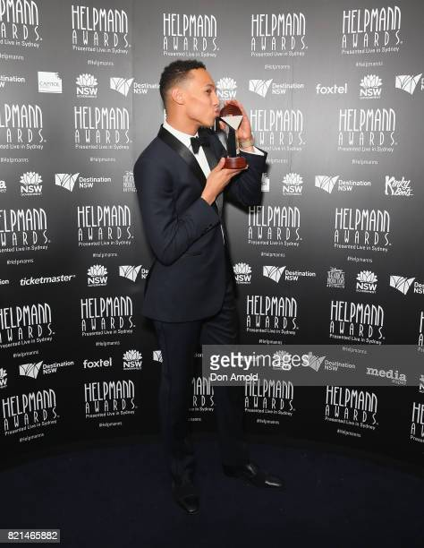 Callum Francis poses with his award for Best Male Actor in a Musical during the 17th Annual Helpmann Awards at Lyric Theatre Star City on July 24...