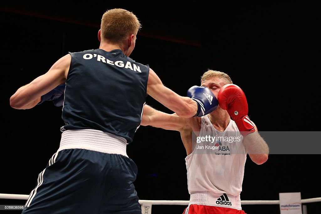 Callum French (red gloves) in action against Corey Oregan in their 60kg final bout during day three of the Boxing Elite National Championships at Echo Arena on May 01, 2016 in Liverpool, England.