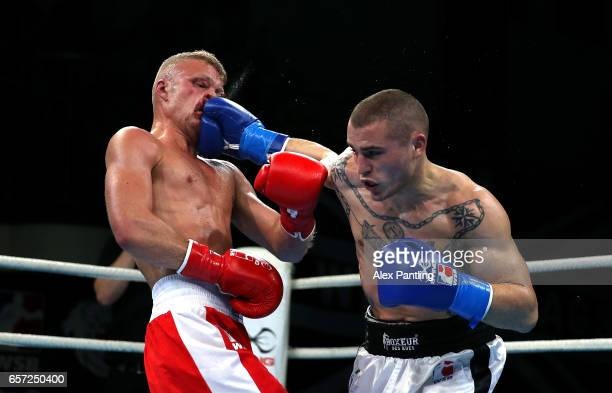 Callum French of British Lionhearts fights Michael Magnesi of Italia Thunder during the World Series of Boxing at York Hall on March 23 2017 in...