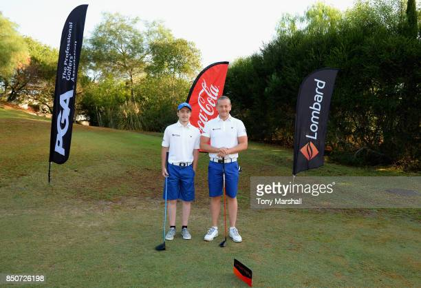 Callum Gaughan of Normanton Golf Club and Scott McGovern of Normanton Golf Club pose on the 1st tee during The Lombard Trophy Final Day One on...