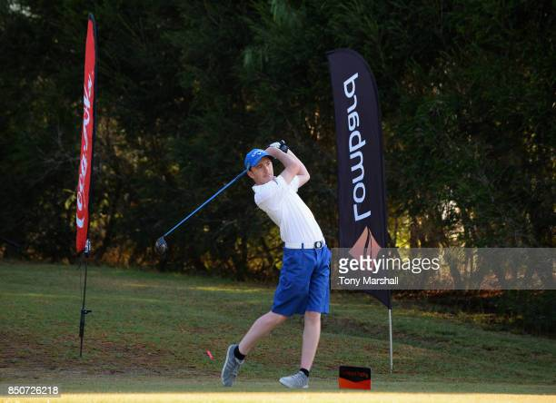 Callum Gaughan of Normanton Golf Club plays his first shot on the 1st tee during The Lombard Trophy Final Day One on September 21 2017 in Albufeira...