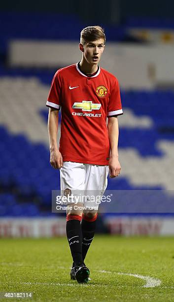Callum Gribbin of Man United during the FA Youth Cup Fifth Round match between Tottenham Hotspur and Manchester United at White Hart Lane on February...