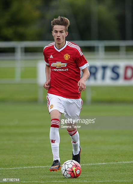 Callum Gribbin of Manchester runs with the ball during the Under 18 Barclays Premier League match at The Newcastle United Academy on September 5 in...