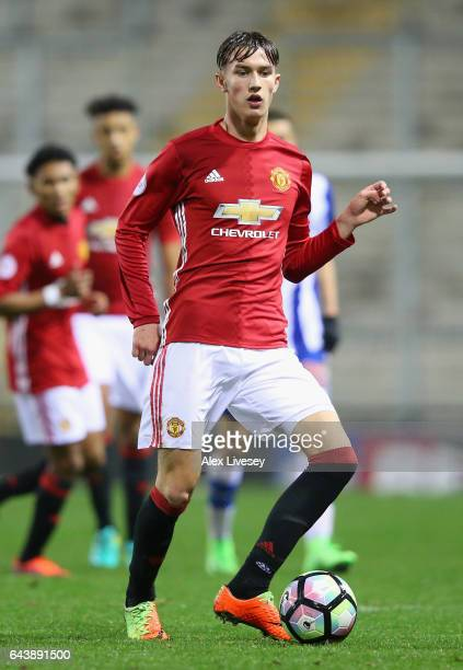 Callum Gribbin of Manchester United during the Premier League International Cup Quarter Final match between Manchester United U23 and Porto B at...
