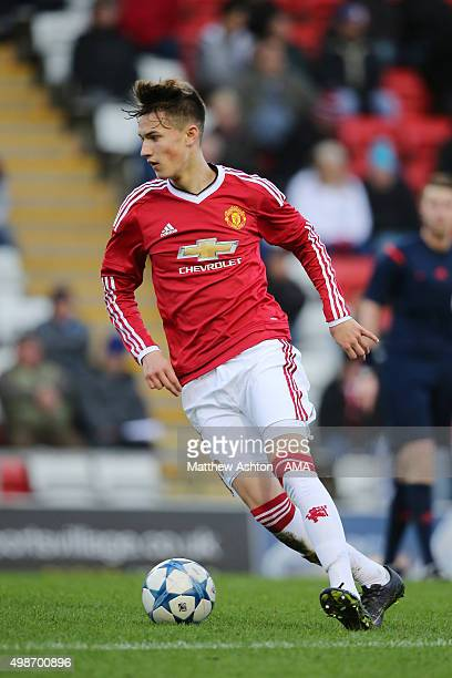 Callum Gribbin of Manchester United during the UEFA Youth League match between Manchester United FC and PSV Eindhoven on November 25 2015 in...