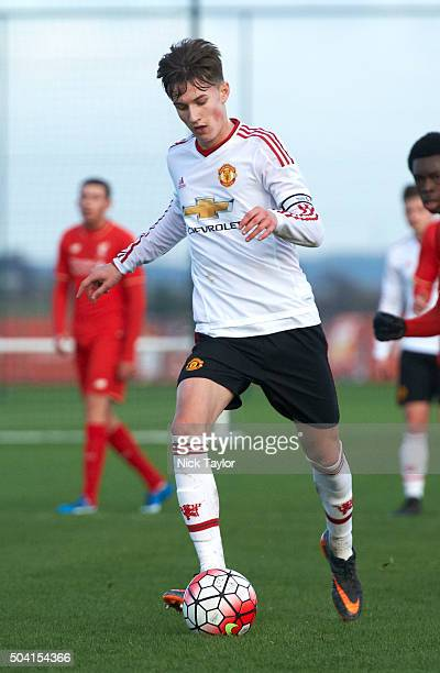 Callum Gribbin of Manchester United in action during the Liverpool v Manchester United U18 Premier League game at the Liverpool FC Academy on January...