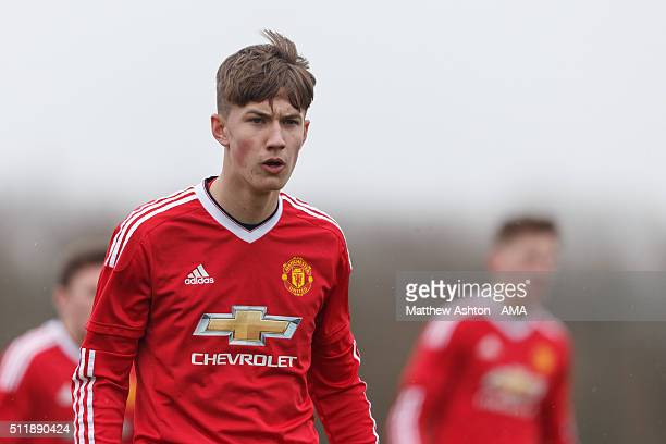 Callum Gribbin of Manchester United U18 during the U18 Premier League match between Manchester United and West Bromwich Albion at Aon Training...