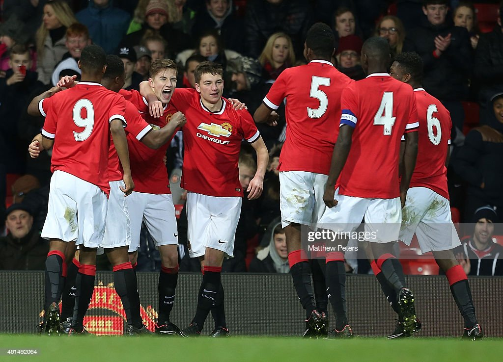 Callum Gribbin of Manchester United U18s celebrates scoring their third goal during the FA Youth Cup Fourth Round match between Manchester United U18s and Hull City U18s at Old Trafford on January 13, 2015 in Manchester, England.