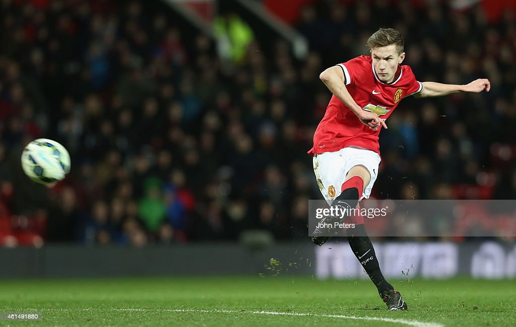 Callum Gribbin of Manchester United U18s scores their second goal during the FA Youth Cup Fourth Round match between Manchester United U18s and Hull City U18s at Old Trafford on January 13, 2015 in Manchester, England.