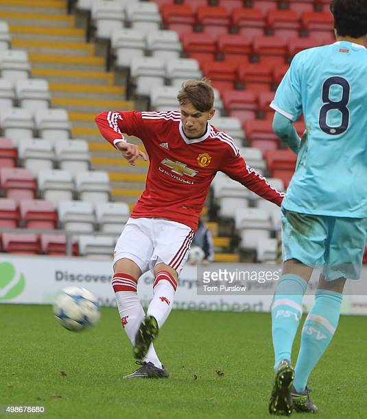 Callum Gribbin of Manchester United U19s in action during the UEFA Youth League match between Manchester United U19s and PSV Eindhoven U19s at Leigh...