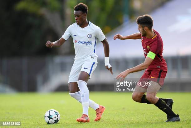 Callum Hudson Odoi of Chelsea and Stefano Ciavattini of AS Roma during the UEFA Youth League match between AS Roma and Chelsea FC at Stadio Tre...