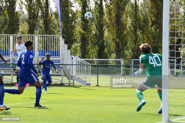 Callum Hudson Odoi of Chelsea U19's scores his goal during the UEFA Youth Champions League group C match between Chelsea FC and Qarabag FK at Chelsea...