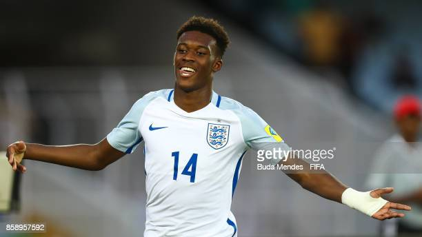 Callum HudsonOdoi of England celebrates a scored goal during the FIFA U17 World Cup India 2017 group F match between Chile and England at Vivekananda...