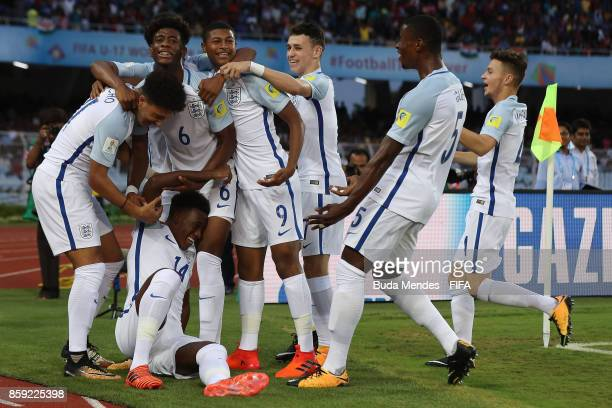 Callum HudsonOdoi of England celebrates with his teammates a scored goal during the FIFA U17 World Cup India 2017 group F match between Chile and...