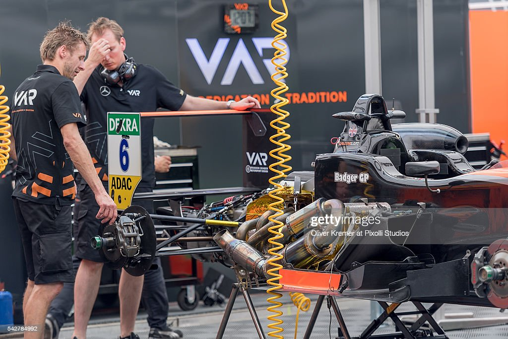 Callum Ilot's car of FIA Formula 3 Team van Amersfoort Racing gets a checkup in preparation for the upcoming 2016 FIA Formula 3 European Championships at the Norisring during Day 1 of the German Touring Car Championship 2016 - Session 4 on June 24, 2016 in Nuremberg, Germany.