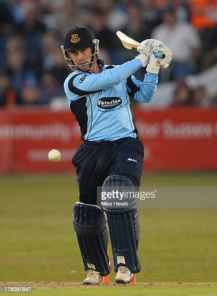 Callum Jackson of Sussex hits out during the Friends Life T20 match between Sussex Sharks and Kent Spitfires at BrightonandHoveJobscom County Ground...