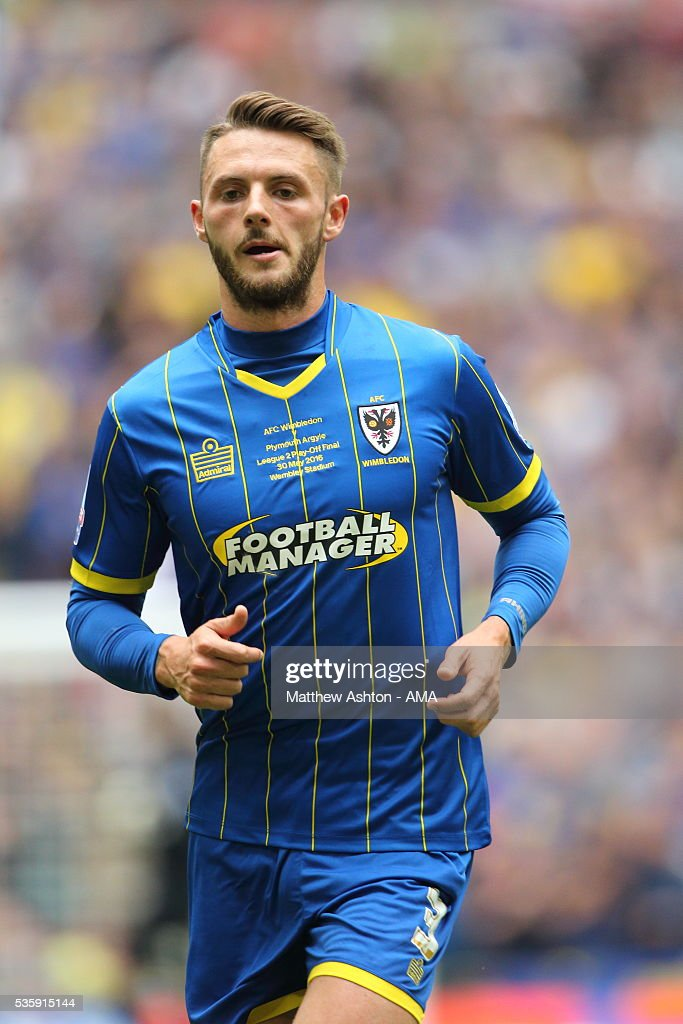 Callum Kennedy of AFC Wimbledon during the Sky Bet League Two Play Off Final between Plymouth Argyle and AFC Wimbledon at Wembley Stadium on May 30, 2016 in London, England.