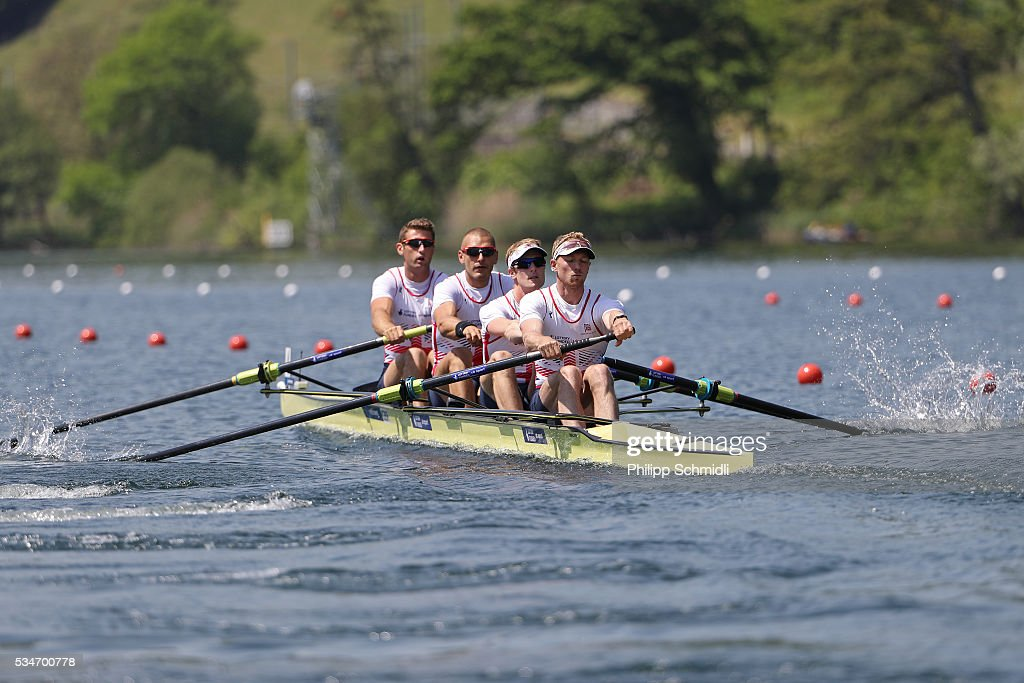 Callum McBrierty, Mohamed Sbihi, George Nash and Alex Gregory of Great Britain compete in the Men's Four heats during day 1 of the 2016 World Rowing Cup II at Rotsee on May 27, 2016 in Lucerne, Switzerland.