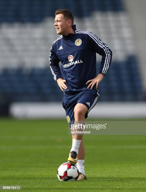 Callum McGregor is seen during a training session ahead of the FIFA 2018 World Cup Qualifier against Slovakia at Hampden Park on October 2 2017 in...