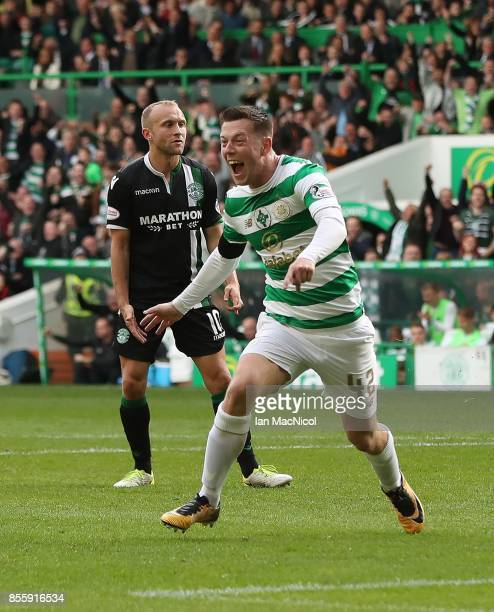 Callum McGregor of Celtic celebrates after he scores his second goal during the Ladbrokes Scottish Premiership match between Celtic and Hibernian at...
